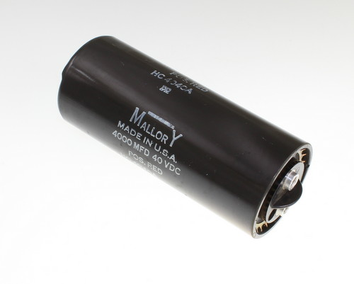 Picture of HC4040A Mallory capacitor 4,000uF 40V Aluminum Electrolytic Large Can Computer Grade