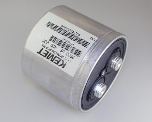 Picture of PEH2000M436AMU0-M6 KEMET capacitor 3,600uF 420V Aluminum Electrolytic Large Can Computer Grade