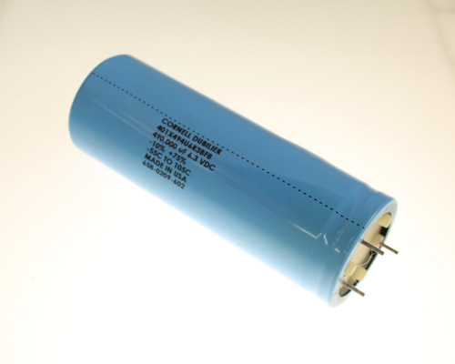 Picture of 401X494U6R3BF8 Cornell Dubilier (CDE) capacitor 490,000uF 6.3V Aluminum Electrolytic Large Can Computer Grade