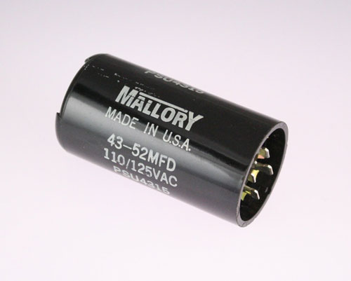 Psu4315 aerovox capacitor 43uf 125v application motor for Mallory ac motor starting capacitor
