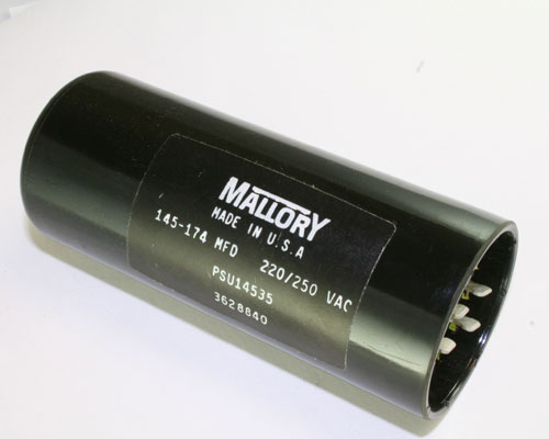 Psu14535 mallory capacitor 145uf 220v application motor for Mallory ac motor starting capacitor