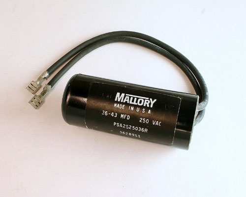 Picture of PSA2S25036R MALLORY capacitor 36uF 250V Application Motor Start