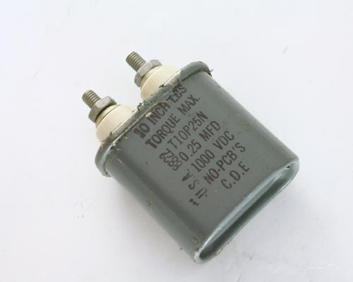 Picture of T10P25N CDE capacitor 0.25uF 1000V OIL HERMETICALLY SEALED Radial