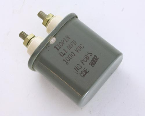 Picture of T10P1N Cornell Dubilier (CDE) capacitor 0.1uF 1000V OIL HERMETICALLY SEALED Radial