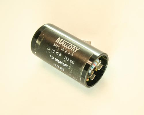 Psa1r16018r mallory capacitor 18uf 165v application motor for Mallory ac motor starting capacitor