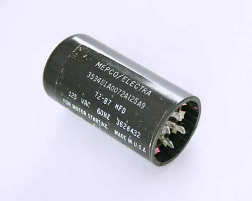 Picture of 3534B1A0072A125A9 MEPCO-PHILIPS capacitor 72uF 125V Application Motor Start