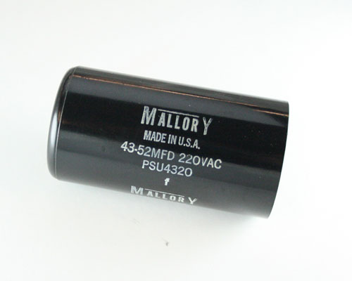 Psu4320 mallory capacitor 43uf 220v application motor for Mallory ac motor starting capacitor