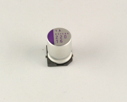 Picture of 16SVP220M SANYO capacitor 220uF 16V Aluminum Electrolytic Surface Mount High Temp