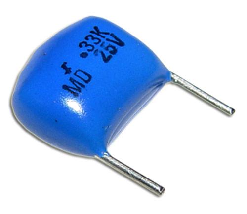 Picture of EMD025P33K4Q0 RAD-MY capacitor 0.33uF 25V Film Polyester Radial