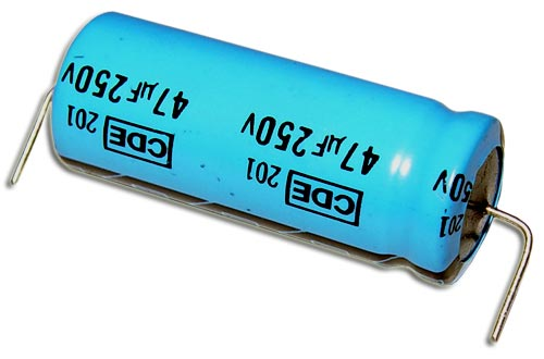 Picture of 1063 CDE capacitor 47uF 250V Aluminum Electrolytic Axial High Temp