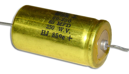 Picture of AE80MFD250V BYAB capacitor 80uF 250V Aluminum Electrolytic Axial
