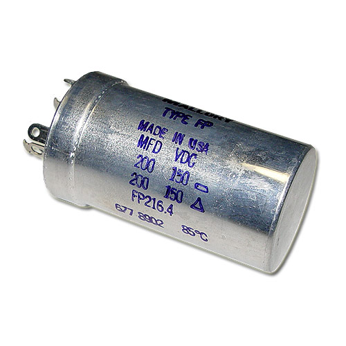 Picture of FP-216.4 MALLORY capacitor 200uF 150V Aluminum Electrolytic Large Can Twist Lock