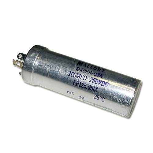 Picture of FP125.95M MALLORY capacitor 160uF 250V Aluminum Electrolytic Large Can Twist Lock