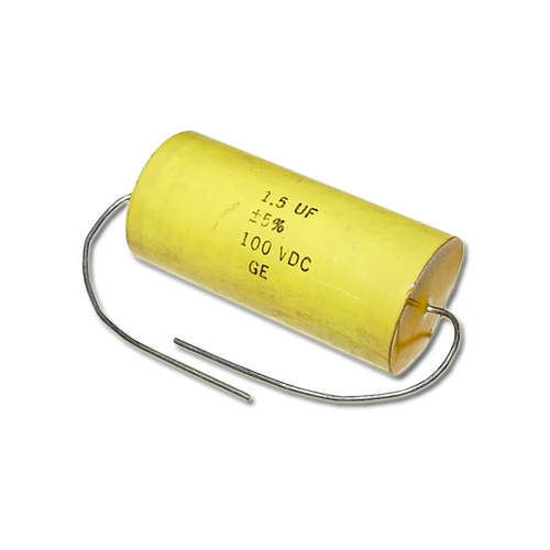 Picture of 1.5UF-100V-5% GENERAL ELECTRIC capacitor 1.5uF 100V Film Polyester Axial