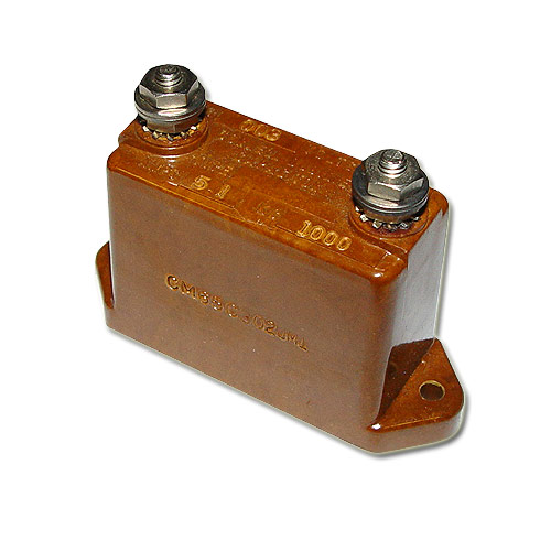 Picture of CM65C302JMI Cornell Dubilier (CDE) capacitor 0.003uF 2000V Silver Mica Transmitting