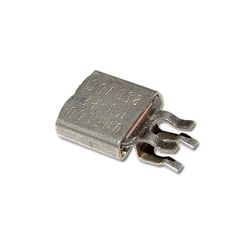 Picture of MC101J250 BYAB capacitor 100pF 250V Silver Mica Metal Clad