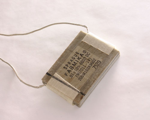 Picture of 200M103X9602 SPRAGUE capacitor 0.01uF 6000V silver mica transmitting