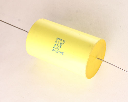 Picture of MPE1X-6.8-400-10 F-DYNE capacitor 6.8uF 400V Film Metallized Polyester Axial
