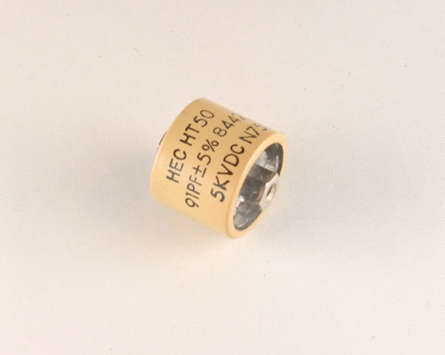 Picture of HT50T910JA HEC capacitor 91pF 5000V Ceramic Transmitting