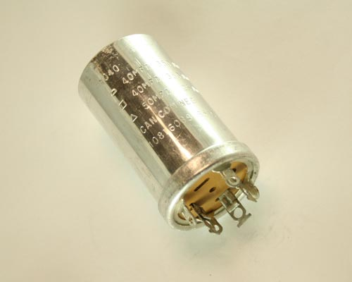 Picture of 10816043 Sprague capacitor 40uF 350V Aluminum Electrolytic Large Can Twist Lock