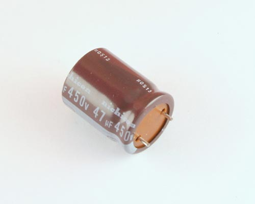 Picture of UPB2W470MRD1CV NICHICON capacitor 47uF 450V Aluminum Electrolytic RADIAL High Temp