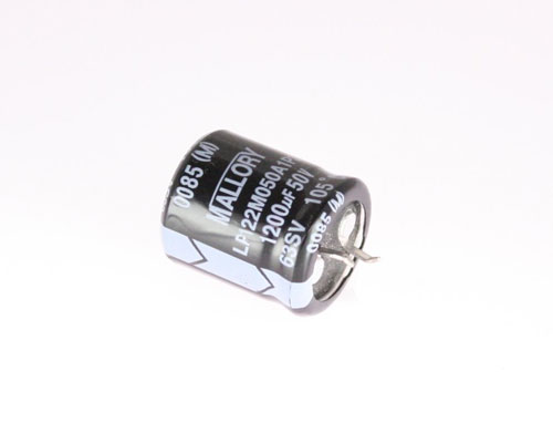 Picture of LP122M050A1P3 MALLORY capacitor 1,200uF 50V Aluminum Electrolytic Snap In High Temp