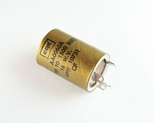 Picture of AA0060A Cornell Dubilier (CDE) capacitor 700uF 16V Aluminum Electrolytic Large Can Twist Lock