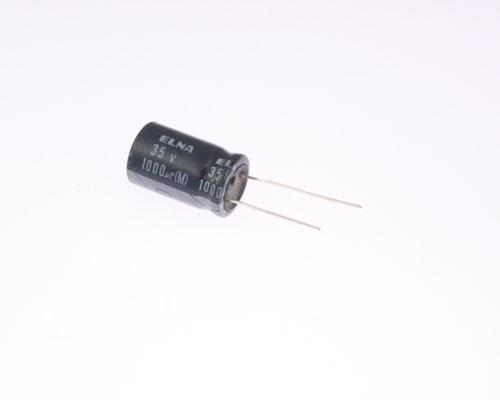 Picture of ER108M35V16X25-85 ELNA capacitor 1,000uF 35V Aluminum Electrolytic Radial
