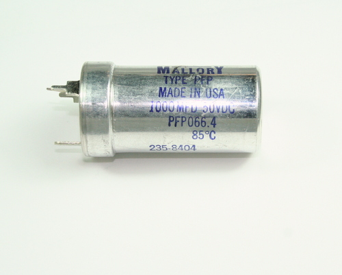 Picture of PFP066.4 MALLORY capacitor 1,000uF 50V aluminum electrolytic large can twist lock