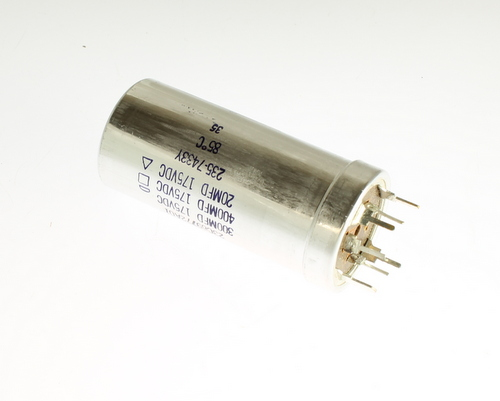Picture of 23C69772A01 MALLORY capacitor 400uF 175V Aluminum Electrolytic Large Can Twist Lock