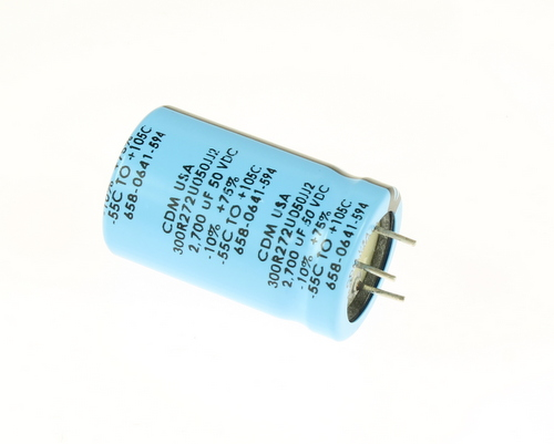 Picture of 300R272U050JJ2 Cornell Dubilier (CDE) capacitor 2,700uF 50V Aluminum Electrolytic Radial High Temp