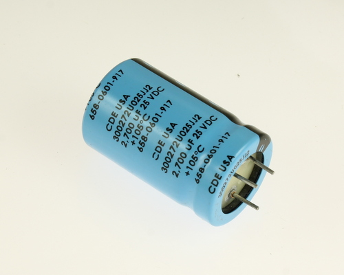 Picture of 300272U025JJ2 Cornell Dubilier (CDE) capacitor 2,700uF 25V Aluminum Electrolytic Snap In High Temp