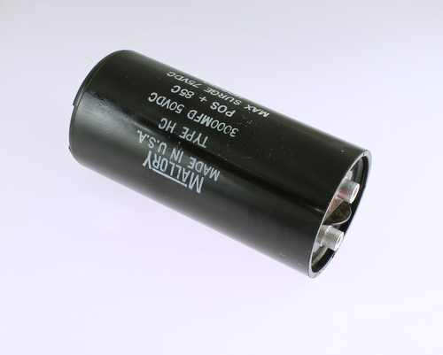 Picture of HC5030 MALLORY capacitor 3,000uF 50V Aluminum Electrolytic Large Can Computer Grade