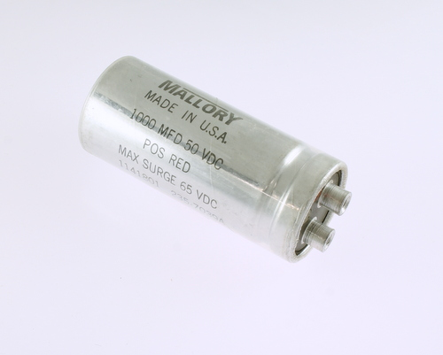Picture of CGE102M501.375X3.125HP MALLORY capacitor 1,000uF 50V Aluminum Electrolytic Large Can Computer Grade
