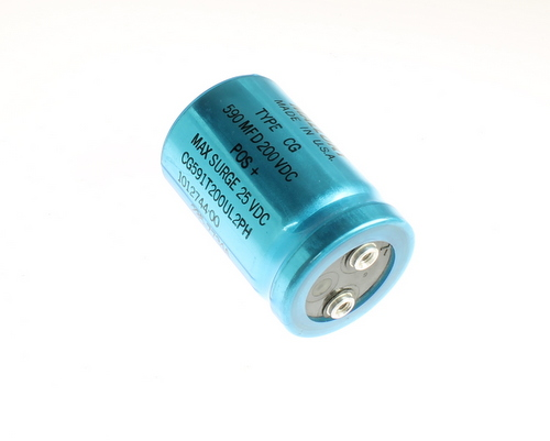 Picture of CG591T200UL2PH MALLORY capacitor 590uF 200V Aluminum Electrolytic Large Can Computer Grade