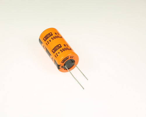 Picture of URZ12VH562M25X50LL UCC capacitor 5,600uF 12V Aluminum Electrolytic Radial High Temp