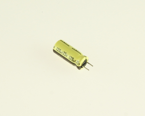 Picture of UPL1E121MEH NICHICON capacitor 120uF 25V Aluminum Electrolytic Radial High Temp