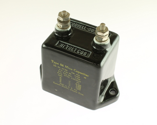 Picture of 11C-86 CDE capacitor 0.01uF 7000V Silver Mica Transmitting