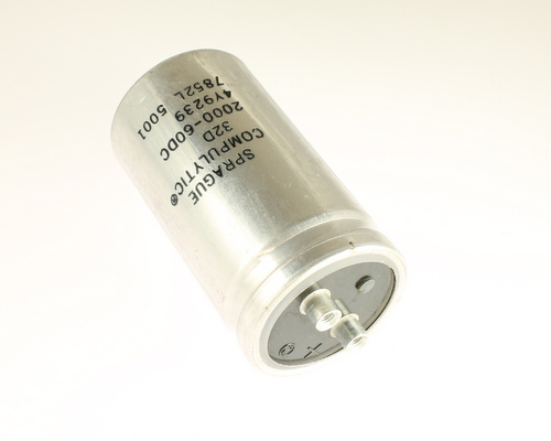 Picture of 32D202G060BL2A SPRAGUE capacitor 2,000uF 60V Aluminum Electrolytic Large Can Computer Grade