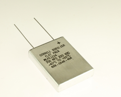 Picture of MLPE1234 Cornell Dubilier (CDE) capacitor 700uF 220V Aluminum Electrolytic Radial