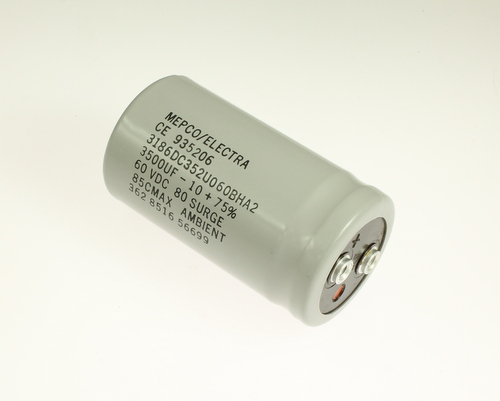 Picture of 3186DC352U060BHA2 Mepco / Electra capacitor 3,500uF 60V Aluminum Electrolytic Large Can Computer Grade