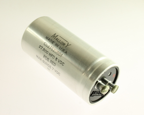 Picture of CG2752U5D1 MALLORY capacitor 27,500uF 5V Aluminum Electrolytic Large Can Computer Grade