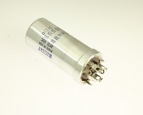 Picture of WP412.1A MALLORY capacitor 200uF 175V Aluminum Electrolytic Large Can Twist Lock