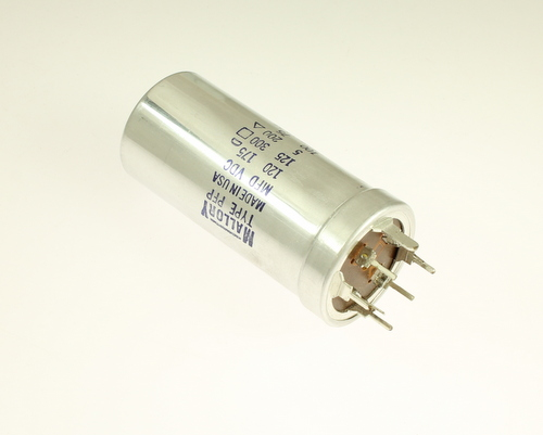 Picture of PFP419.05 MALLORY capacitor 120uF 175V Aluminum Electrolytic Large Can Twist Lock
