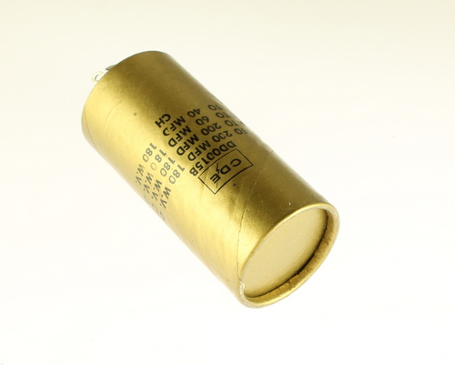 Picture of DD0015B Cornell Dubilier (CDE) capacitor 120uF 180V Aluminum Electrolytic Large Can Twist Lock