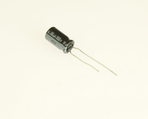Picture of UVR2A100MDA NICHICON capacitor 10uF 100V Aluminum Electrolytic Radial