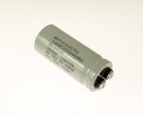 Picture of 3186BC352U040AMA1 Mepco / Electra capacitor 3,500uF 40V Aluminum Electrolytic Large Can Computer Grade