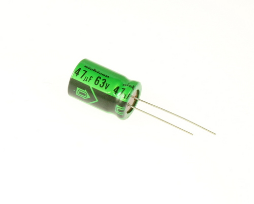 Picture of UPL1J476MHH NICHICON capacitor 47uF 63V Aluminum Electrolytic Radial High Temp