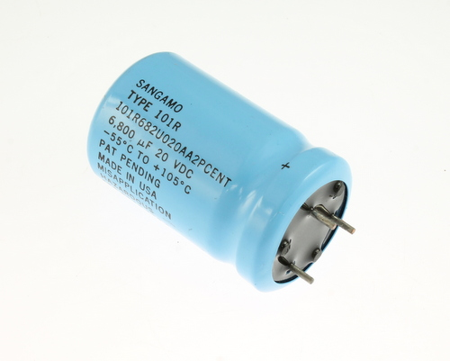 Picture of 101R682U020AA2PCENT SANGAMO-CDE capacitor 6,800uF 20V Aluminum Electrolytic Large Can Computer Grade