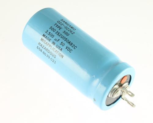 Picture of 500352U050AB2C SANGAMO capacitor 3,500uF 50V Aluminum Electrolytic Large Can Computer Grade